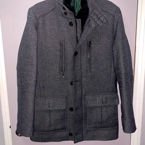 Men's Grey Faux-Fur Lined Wool Coat
